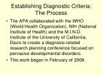 establishing diagnostic criteria the process