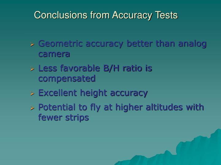 Conclusions from Accuracy Tests