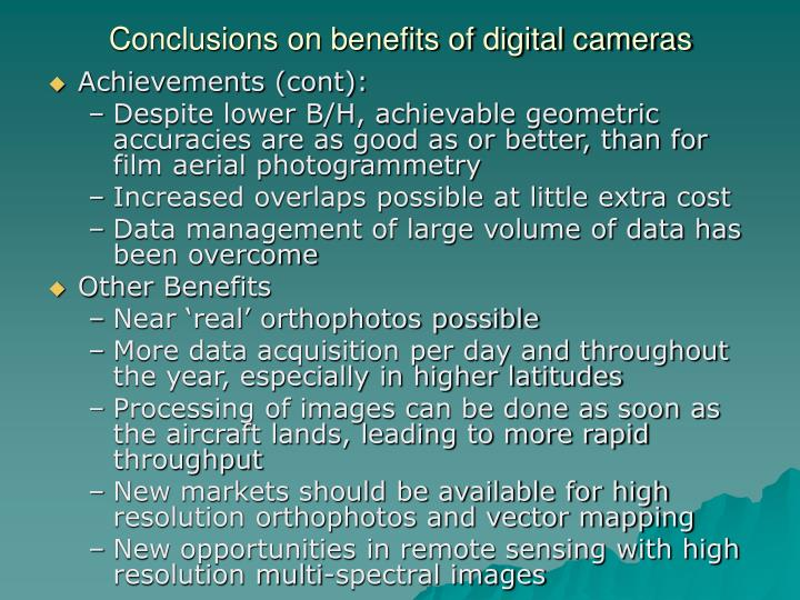 Conclusions on benefits of digital cameras