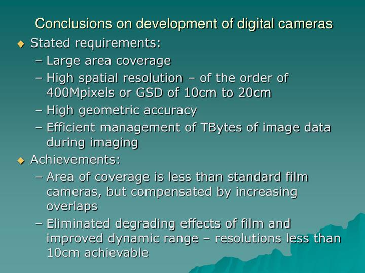 Conclusions on development of digital cameras