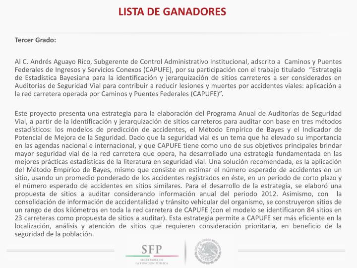 LISTA DE GANADORES