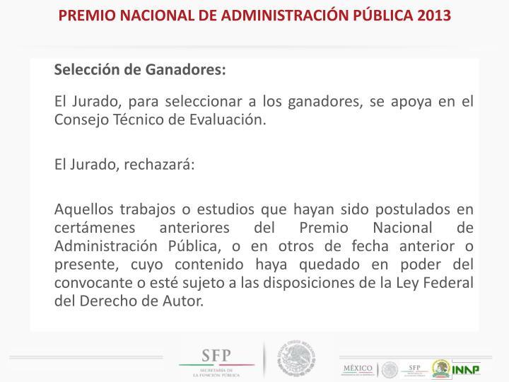 PREMIO NACIONAL DE ADMINISTRACIÓN PÚBLICA