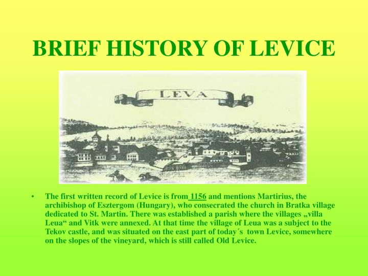 Brief history of levice