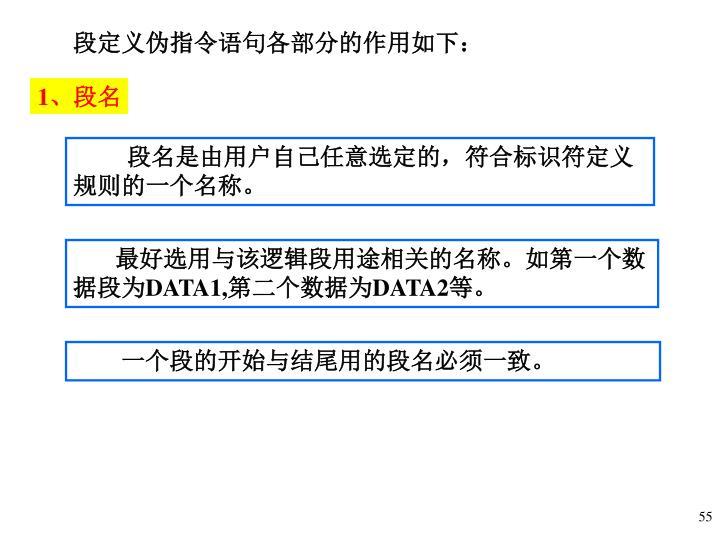 段定义伪指令语句各部分的作用如下:
