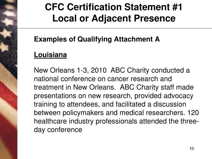 CFC Certification Statement #1