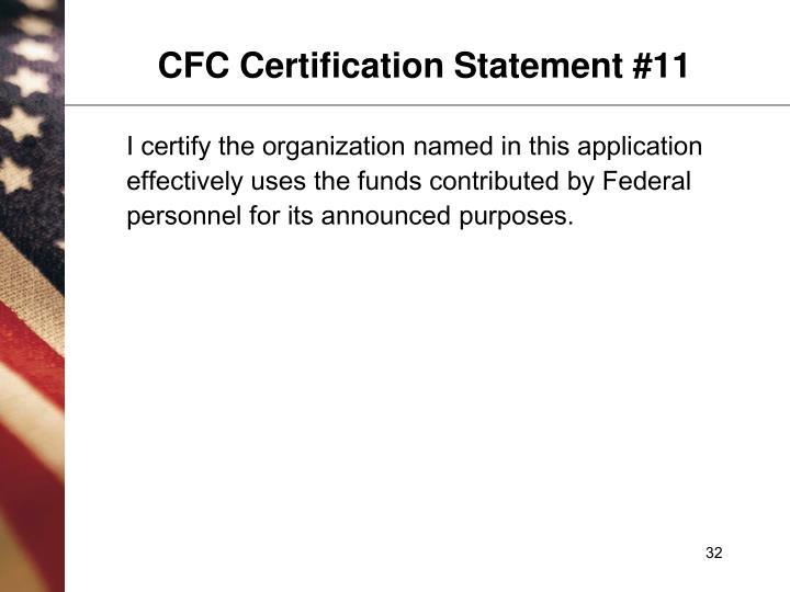 CFC Certification Statement #11