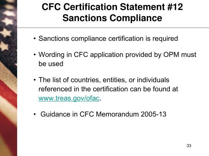 CFC Certification Statement #12