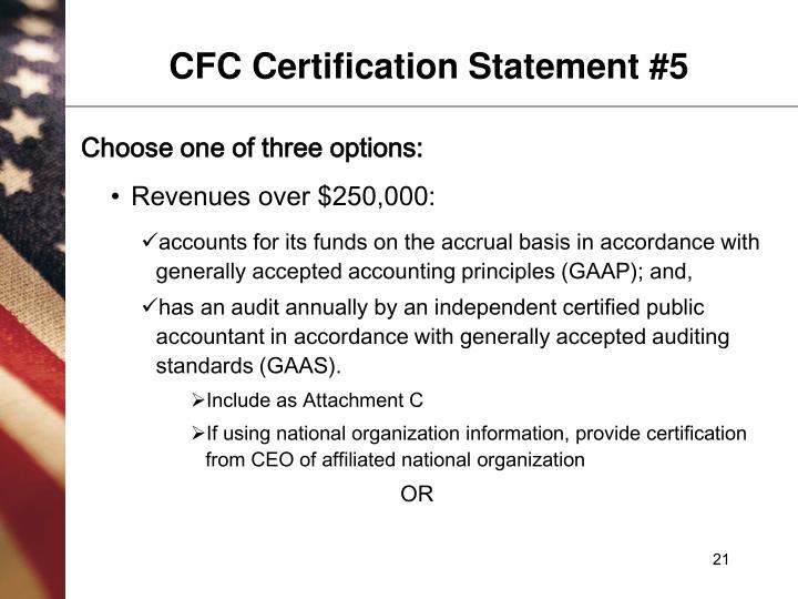 CFC Certification Statement #5
