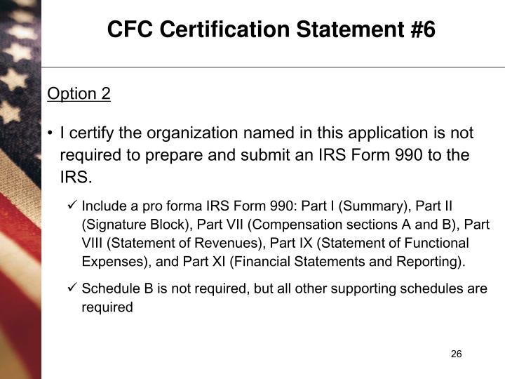 CFC Certification Statement #6