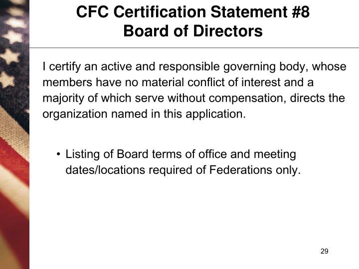 CFC Certification Statement #8