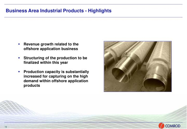 Business Area Industrial Products - Highlights