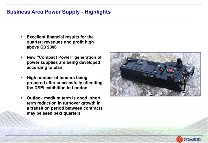 Business Area Power Supply - Highlights