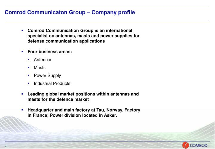 Comrod Communicaton Group – Company profile