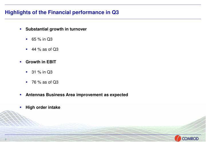 Highlights of the Financial performance in Q3