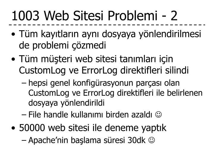 1003 Web Sitesi Problemi - 2