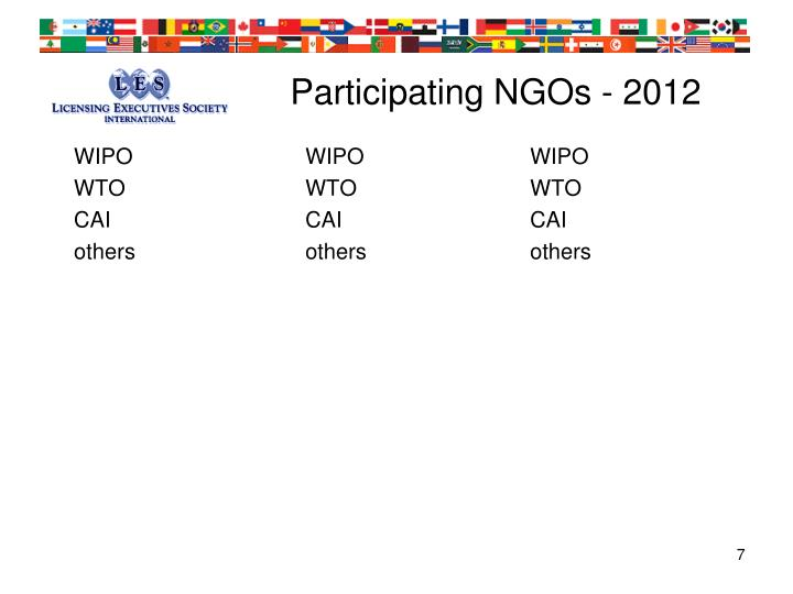 Participating NGOs - 2012