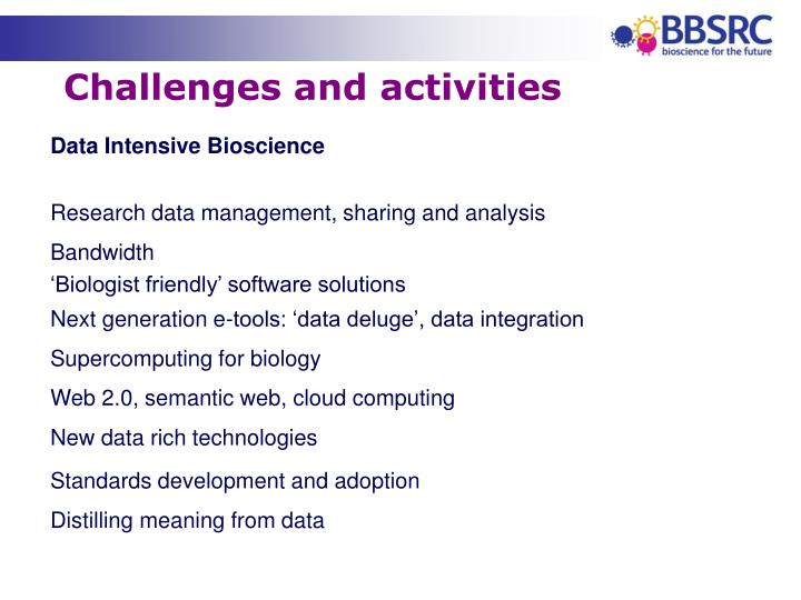 Challenges and activities