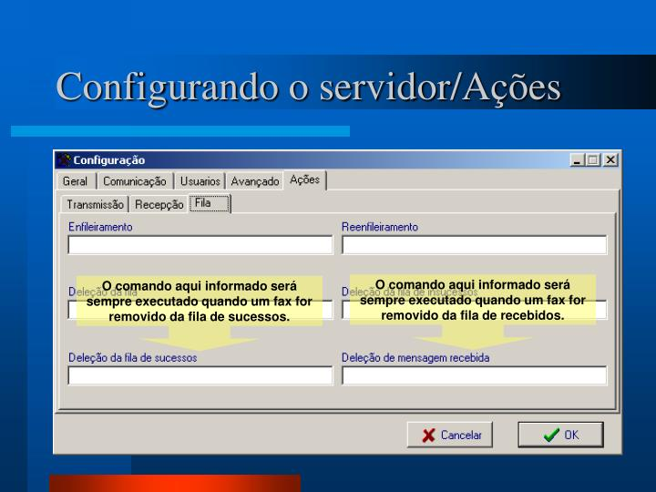 Configurando o servidor/Ações