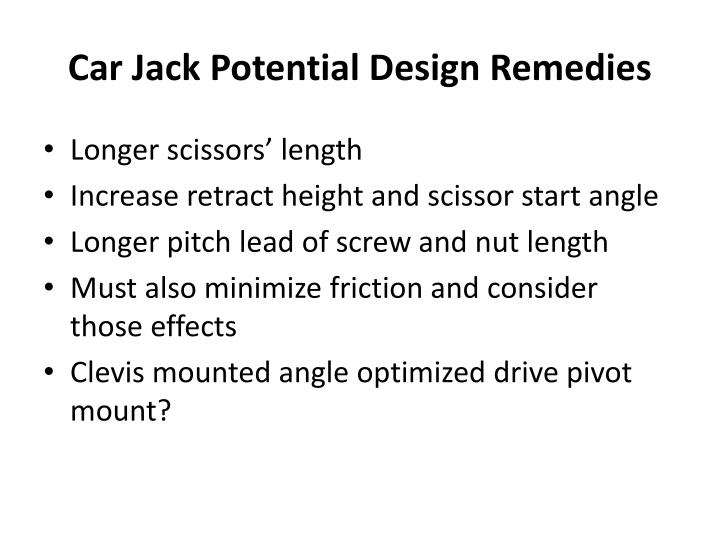 Car Jack Potential Design Remedies