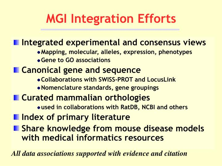 Mgi integration efforts
