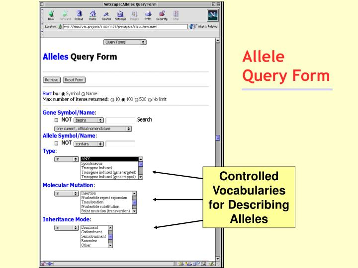 Allele Query Form