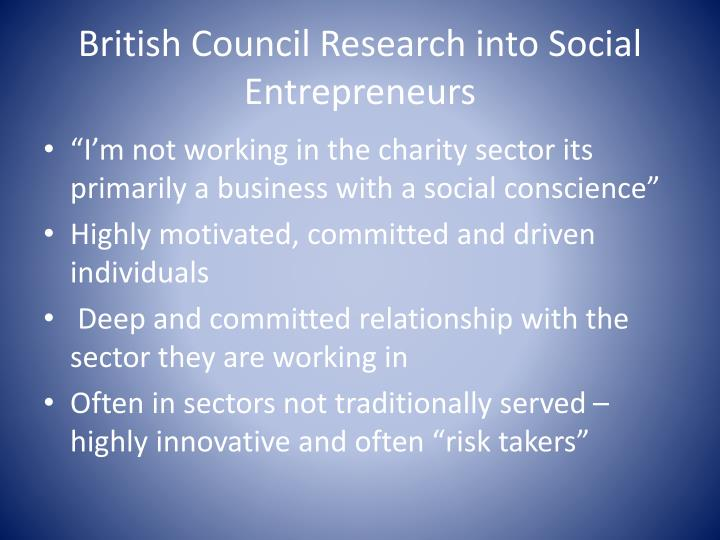 British Council Research into Social Entrepreneurs