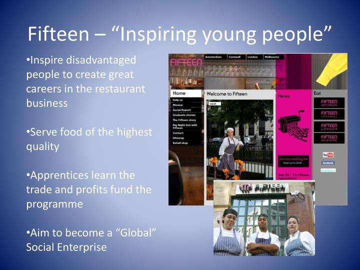 "Fifteen – ""Inspiring young people"""