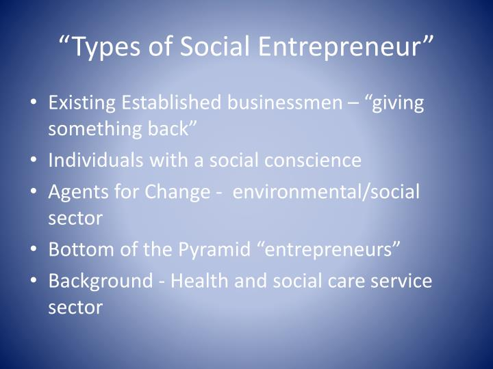 """Types of Social Entrepreneur"""