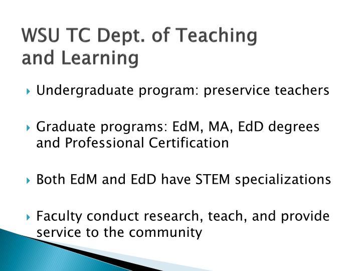 WSU TC Dept. of Teaching