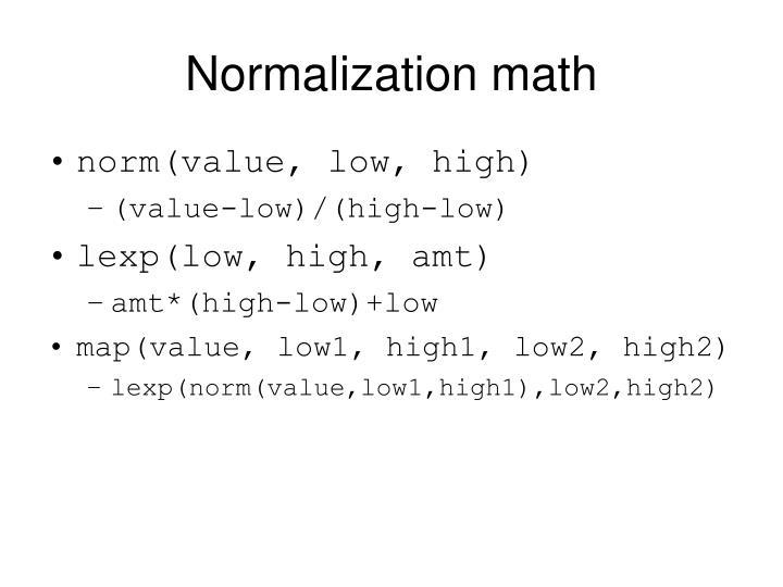 Normalization math