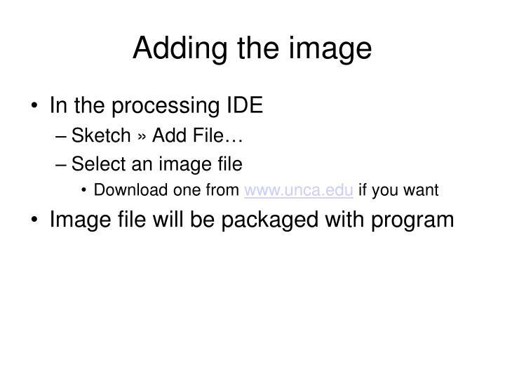 Adding the image
