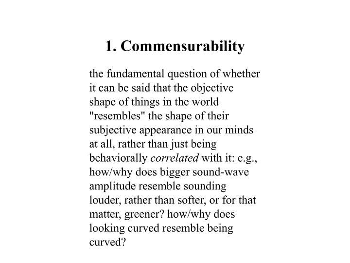 1. Commensurability