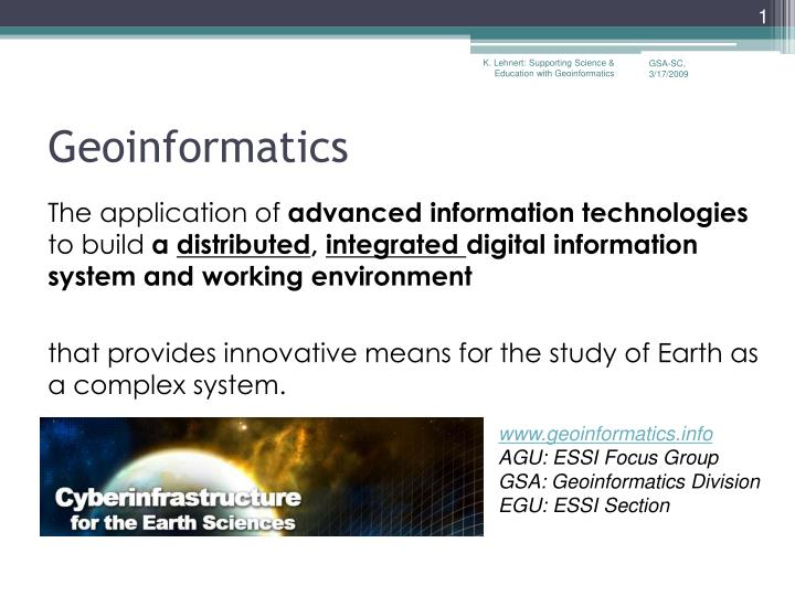K. Lehnert: Supporting Science & Education with Geoinformatics