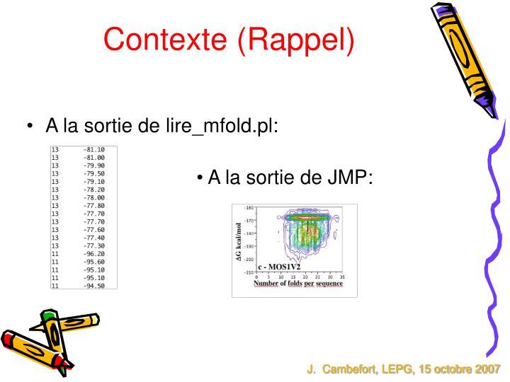 Contexte (Rappel)
