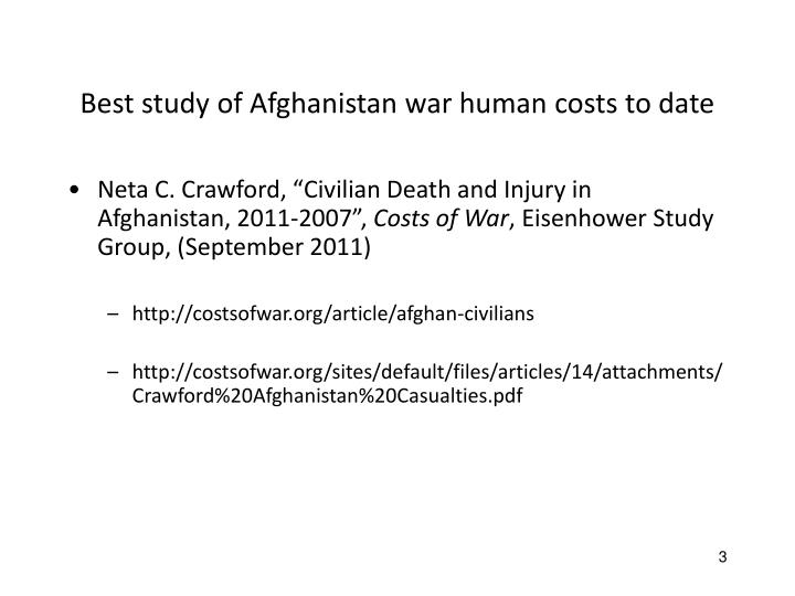 Best study of Afghanistan war human costs to date