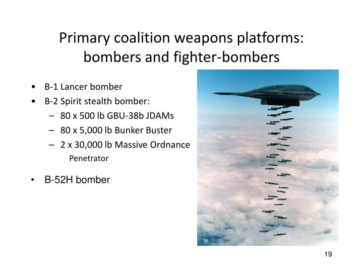 Primary coalition weapons platforms: bombers and fighter-bombers