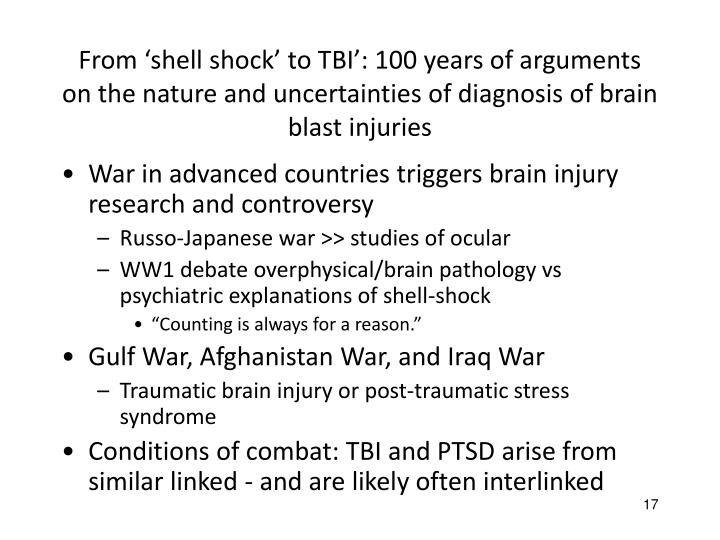 From 'shell shock' to TBI': 100 years of arguments on the nature and uncertainties of diagnosis of brain blast injuries