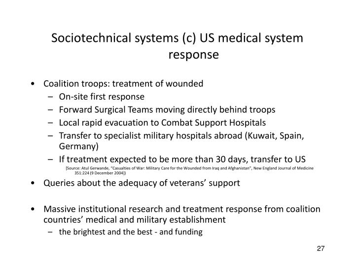 Sociotechnical systems (c) US medical system response