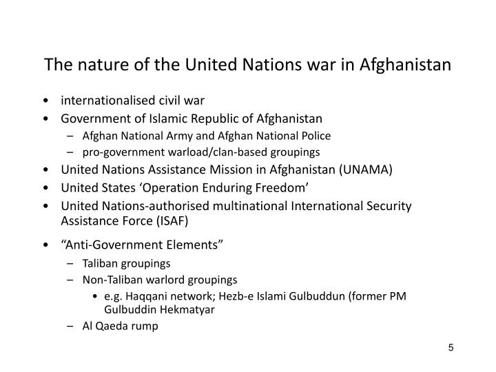 The nature of the United Nations war in Afghanistan