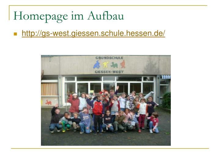 Homepage im Aufbau