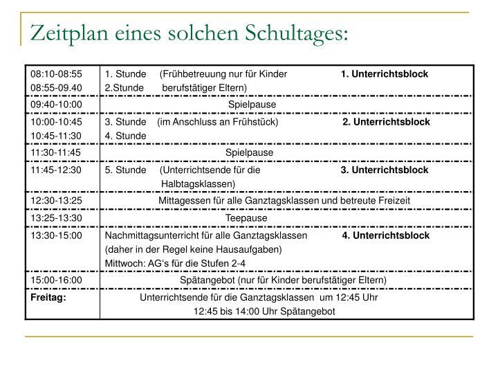 Zeitplan eines solchen Schultages:
