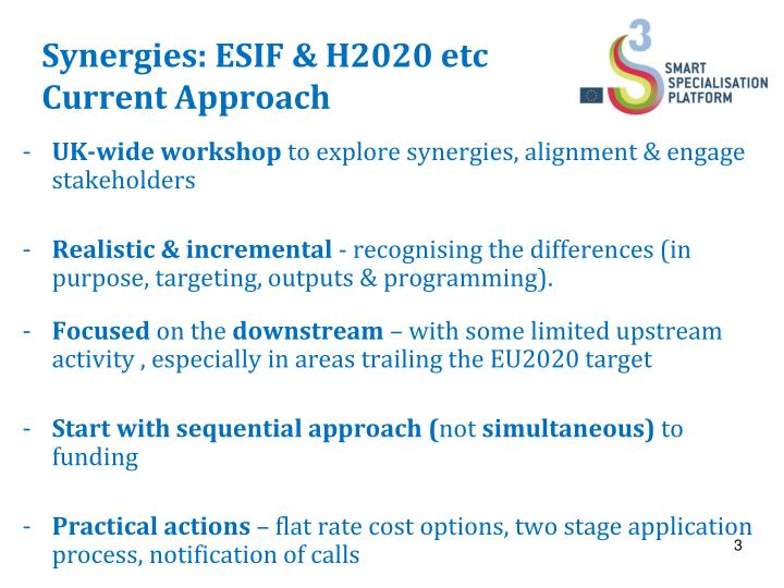 Synergies: ESIF & H2020 etc