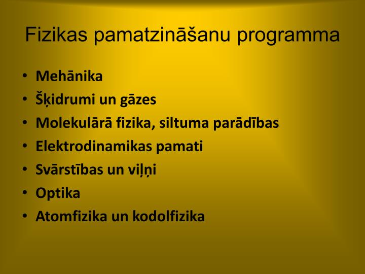 Fizikas pamatzināšanu programma