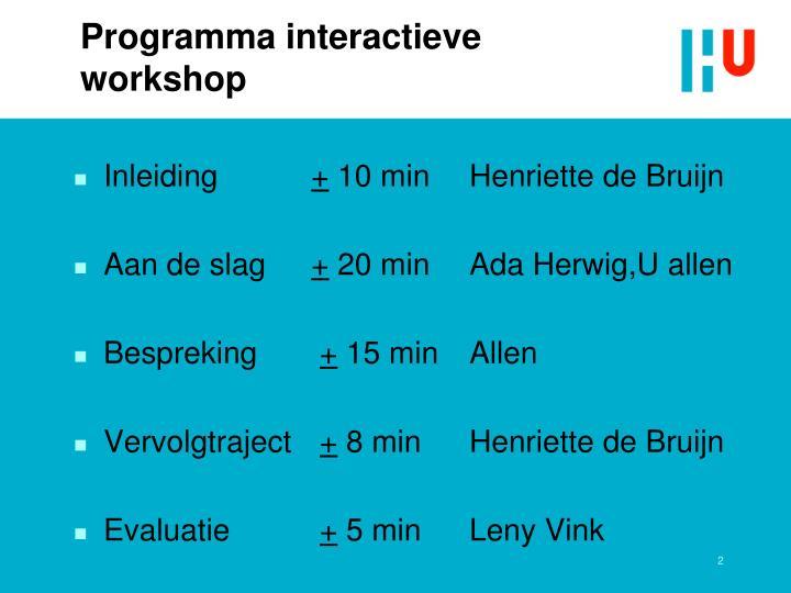 Programma interactieve workshop