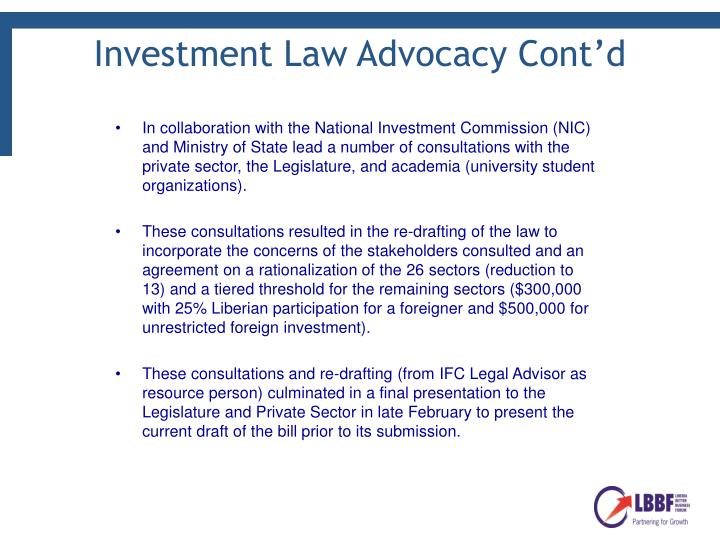 Investment Law Advocacy Cont'd