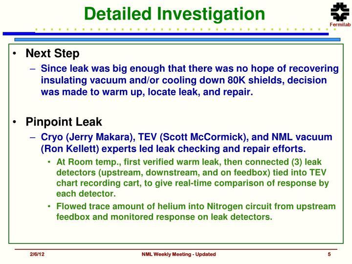 Detailed Investigation