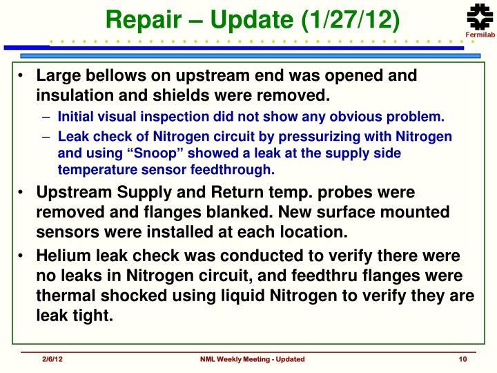 Repair – Update (1/27/12)