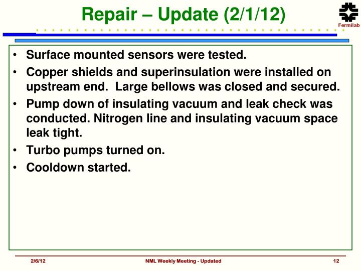 Repair – Update (2/1/12)