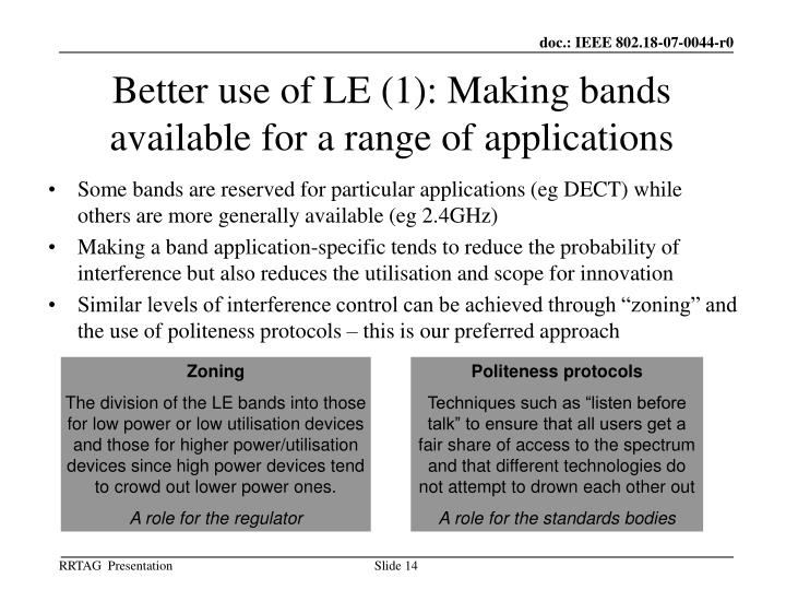 Better use of LE (1): Making bands available for a range of applications