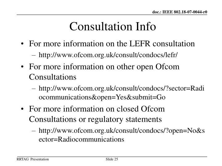 Consultation Info